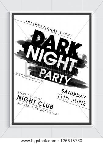 Dark Night Party Template, Dance Party Flyer, Night Party Banner or Club Invitation design with date and time details.