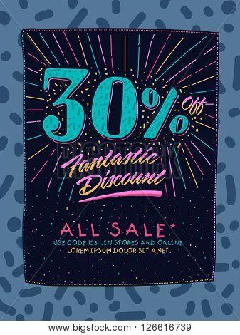 Sale Poster, Sale Banner, Sale Flyer with 30% Fantastic Discount Offer, Vector illustration.
