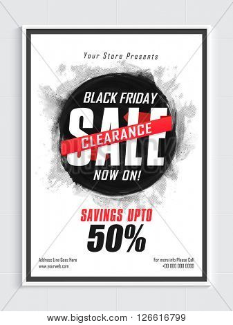 Black Friday, Clearance Sale Poster, Sale Banner, Sale Flyer, Savings upto 50%, Vector illustration.