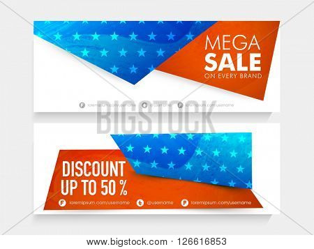 American National Flag colors, website header or banner set of Mega Sale with 50% Discount Offer on every brand on occasion of Independence Day celebration.