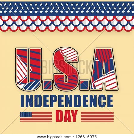 Creative text U.S.A, Independence Day in American National Flag colors, Can be used as Poster, Banner or Flyer design.