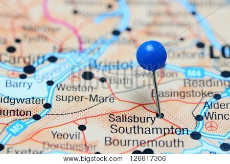 Salisbury pinned on a map of UK