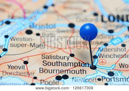 Southampton pinned on a map of UK
