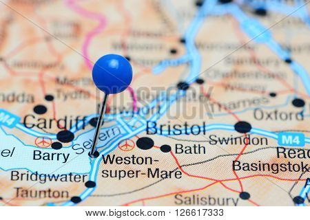 Weston-super-Mare pinned on a map of UK