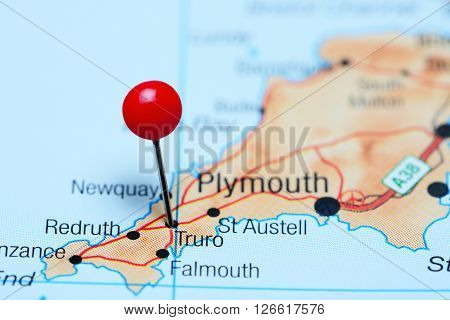 Truro pinned on a map of UK