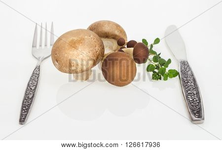 Button Mushrooms And Brown Beech Mushroom With Fork And Knife, On White Background.