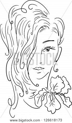 Stylish beautiful model for fashion design. Hand-drawn graphic illustration. Portrait of pretty girl with iris on her neck. Sketch drawing, elegant vector style.