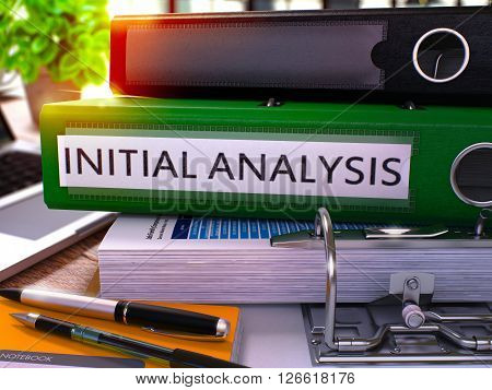Initial Analysis - Green Office Folder on Background of Working Table with Stationery and Laptop. Initial Analysis Business Concept on Blurred Background. Initial Analysis Toned Image. 3D.