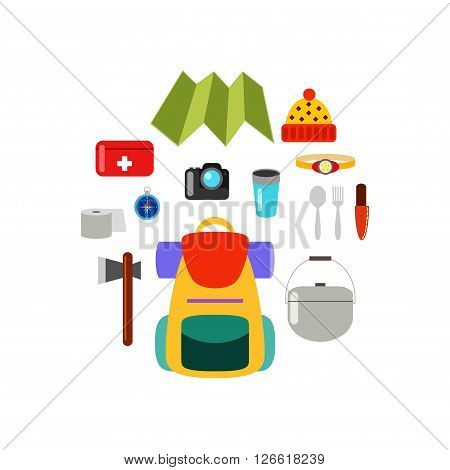 What to bring on a hike. Hiking equipment. Set of isolated vector elements, hiking concept.