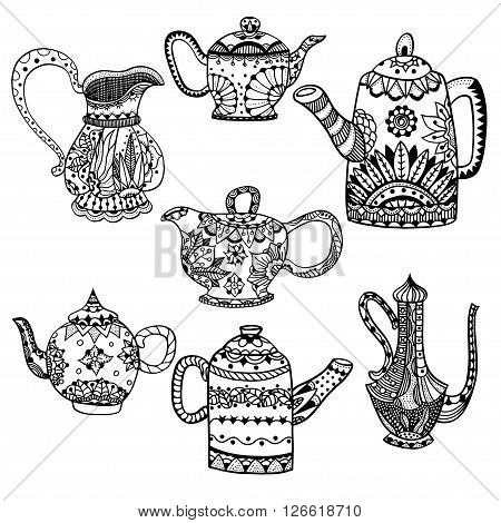 Set of Teapots and jugs isolated vector illustration. Hand drawn art made of flowers and Leaves.