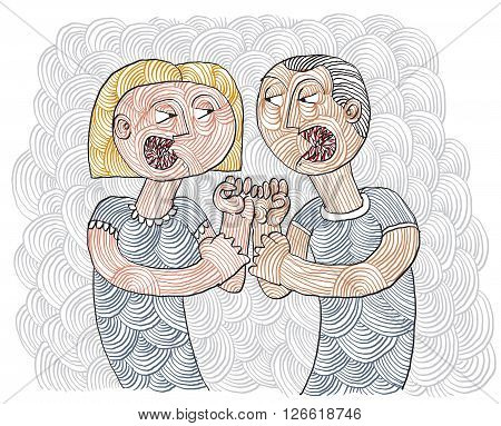 Quarrel between man and woman conceptual hand-drawn stripy illustration. Dispute metaphor fight between husband and wife.