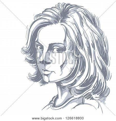 Artistic Hand-drawn Vector Image, Black And White Portrait Of Delicate Melancholic Peaceful Girl. Em
