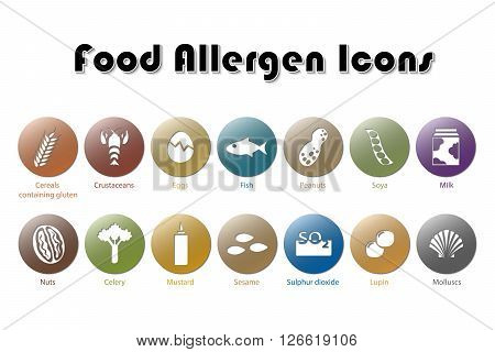 Illustration of 14 Food Allergen Color Icons