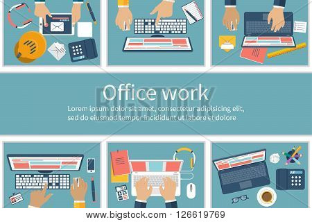 Office cubicles with people working on computers. Office workers. Office Work. Call center. Flat design style vector illustration. Work space with employees.Busy Office. Team Working.