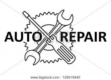 Car Repair Design With Crossed Wrench And Screwdriver On The Gear. Black And White Vector Illustrati