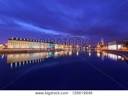 Evening view on the Regional Office and old town in Wroclaw Poland.
