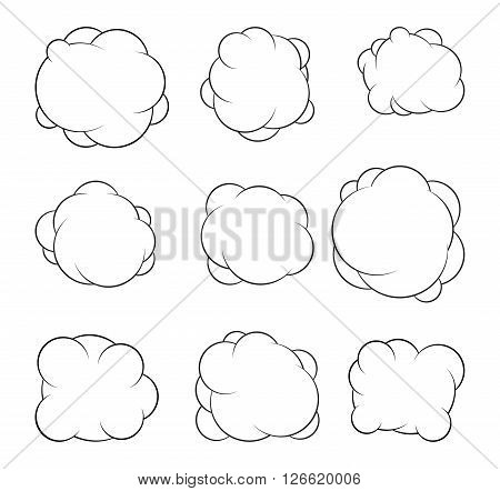 Set Of Nine Decorative Vector Clouds For Your Design