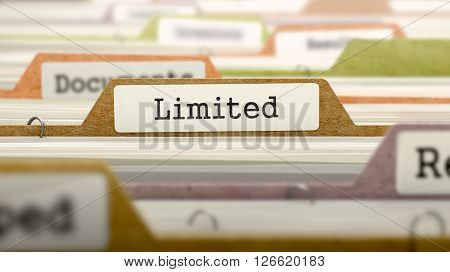 Limited Concept on Folder Register in Multicolor Card Index. Closeup View. Selective Focus. 3D Render.