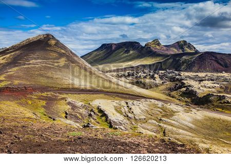 Summer trip to Iceland. Rhyolite mountains, covered with moss and lava