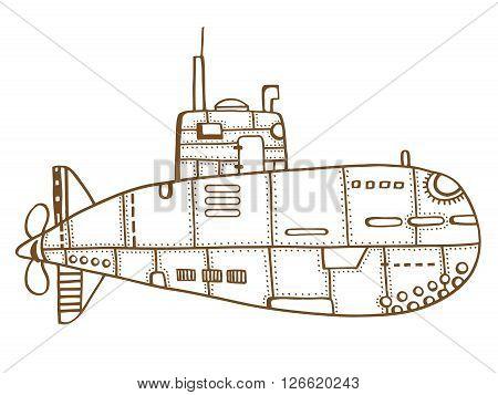 Brown Doodle Sketch of old Submarine Vector Illustration Art