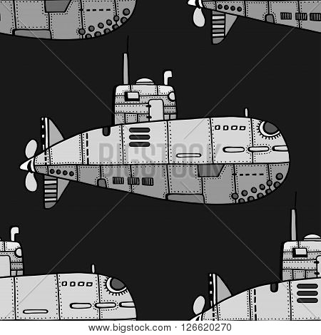 Seamless pattern of monochrome old Submarine. Vector Illustration Art