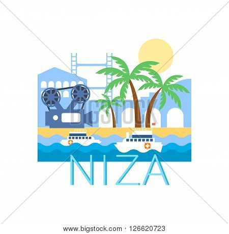 Niza Classic Toristic Scenery  Flat Colorful Cartoon Style Illustration With Text On White Background