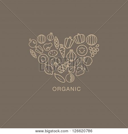 Heart Shaped Logo Composed Of Fruits And Vegetables Drawn In Contour Flat Vector Creative Design Image On Brown Background