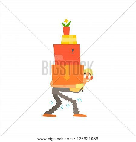 Profession Loader  Primitive Cartoon Style Isolated Flat Vector Illustration On White Background