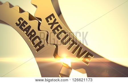 Golden Metallic Cogwheels with Executive Search Concept. Executive Search on Mechanism of Golden Metallic Gears with Glow Effect. Executive Search - Illustration with Glowing Light Effect. 3D.