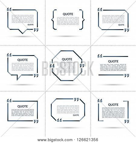 Set of vector quote templates. Quote speech bubbles. Quote frames. Empty quote boxes with marks isolated on white background.