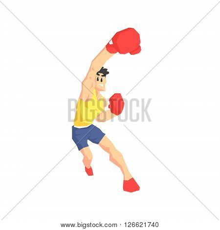 Boxer Attacking Cool Cartoon Style Geometrical Flat Vector Illustration Isolated On White Background
