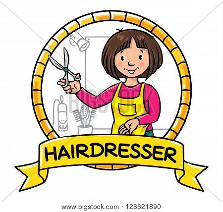 Emblem of funny woman hairdresser with scissors near the mirror and hairdress equipment in round frame with cartouche. Profession ABC series. Children vector illustration.