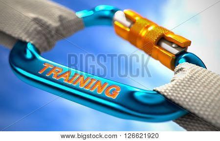 Strong Connection between Blue Carabiner and Two White Ropes Symbolizing the Training. Selective Focus. 3D Render.