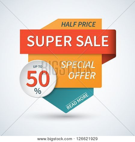 Super sale banner. Sale template, badge, or tag. Super sale and special offer design elements.