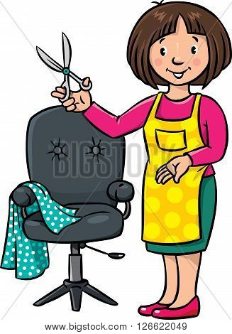 Children vector illustration of funny woman hairdresser with scissors near the barber chair. Profession ABC series.