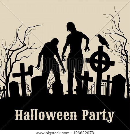 Spooky graveyard on the Halloween Night retro poster for Halloween Party in sepia with zombie
