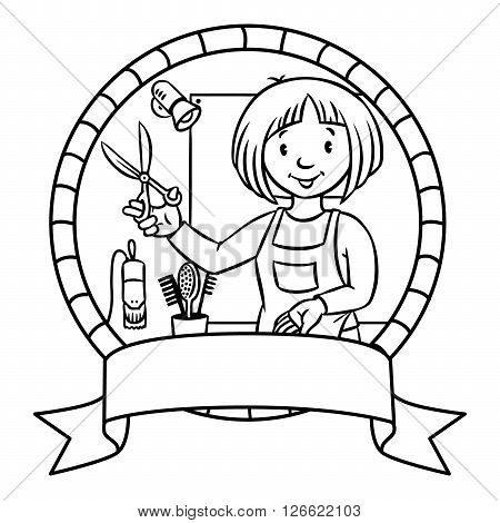 Emblem or coloring book of funny  hairdresser with scissors near the mirror in round frame with cartouche. Profession ABC series. Children vector illustration.