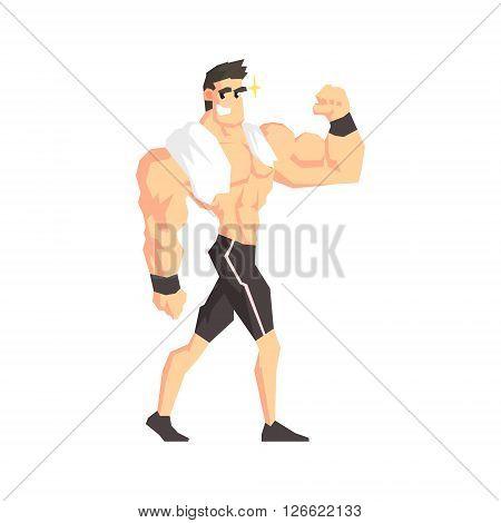 Bodybuilder Cool Cartoon Style Geometrical Flat Vector Illustration Isolated On White Background
