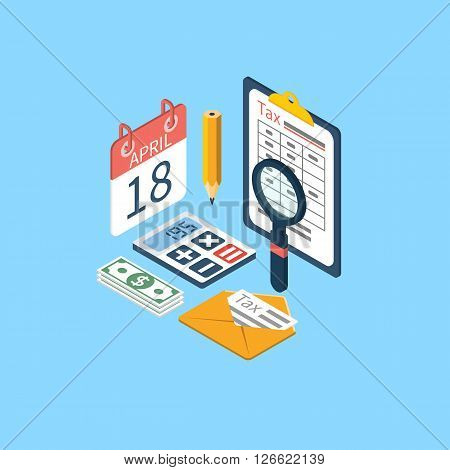 Tax icon vector. Tax payment. Isometric 3d design. Data analysis paperwork financial research report. Calculation of tax return. Tax form. Tax form vector. Payment of debt.