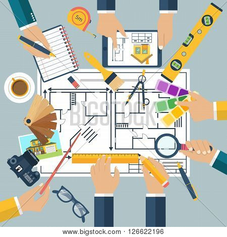 Team of people working together to plan repair project construction of house. Teamwork on architectural planning. Architect designer project drawings. Vector flat design. Architect workplace.
