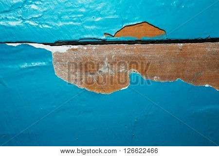 Old Wooden Painted Blue Rustic Background, Paint Peeling