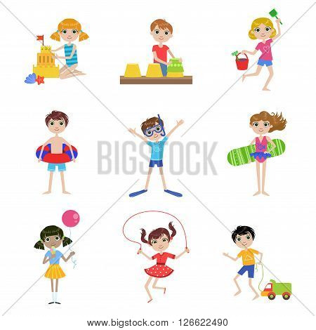Kids On Summer Vacation  Cartoon Cute Flat Vector Funny Images Set Isolated On White Background