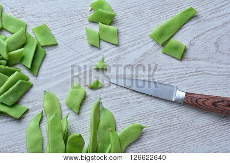 Fresh Green Peas On Table