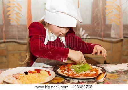 Kids Preparing Homemade Pizza