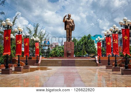 CAN THO, VIETNAM - JUNE 12, 2011: Ho Chi Minh Vietnamese Communist revolutionary leader statue, Can Tho, Vietnam.
