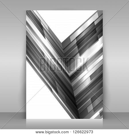 Monochrome flyer design. 1 paper sheet on gray background. Poster with monochrome geometric design. Asymmetrical abstraction. Vector template.