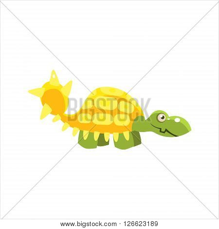 Armored Dinosaur Smiling Flat Vector Illustration In Primitive Cartoon Style Isolated On White Background