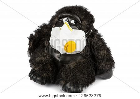 Soft Toy Gorilla Sick Wearing Flu Mask