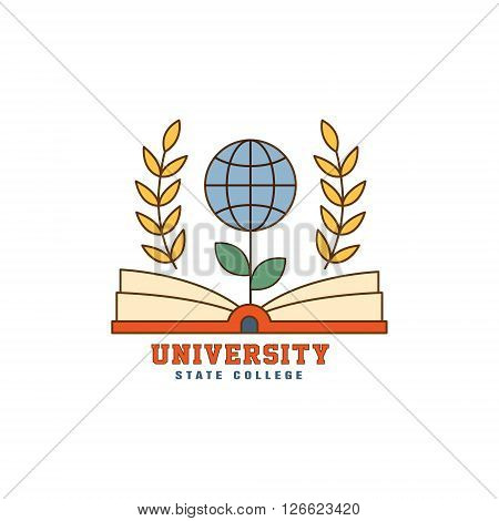 Flower Globe On Book Flat Outlined Vector Design Logo With Text On White Background