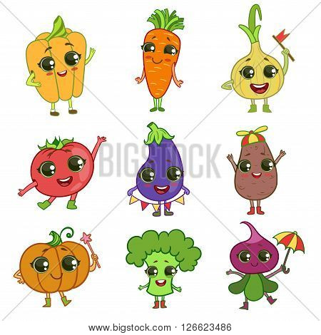Vegetables Illustration Set Of Flat Outlined Isolated Cartoon Humanized Characters In Cute Girly Style On White Background